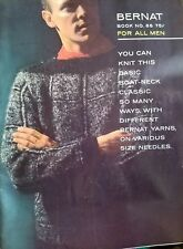 Bernat Book Handicrafter no. 88 Men Knit BoatNeck Classic Sweater 1960 Patterns