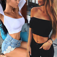 Summer Women's Sexy Off shoulder Strapless Midriff Crop Top Solid Slim T-shirt