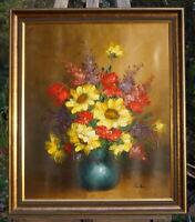 schönes Ölgemälde im Prunkrahmen Stilleben Blumen signierte Künstlerarbeit