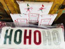 Pottery Barn Kids FULL QUEEN Duvet Elf Flannel 2 Shams Ho Ho Ho Pillow Christmas