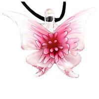 Handmade Lebensechte Schmetterling Lampwork Kunst Glasperlen Anhänger Halsk N4M
