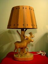 VINTAGE FOLK ART ANDRE DUBE MOOSE WOOD CARVED LAMP QUEBEC CANADA