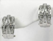 Diamond Hoop Earrings 18k White Gold with 0.88ct Diamonds