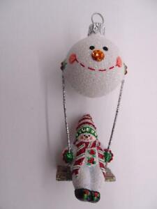 """Patricia Breen Designer Glass Christmas Ornament Hot Air Balloon Snowman 4"""" Tall"""