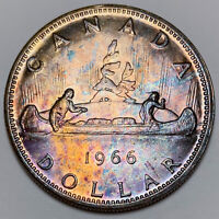 1966 CANADA SILVER DOLLAR PROOF LIKE TONED DEEP BLUE COLOR UNC BU GORGEOUS (DR)