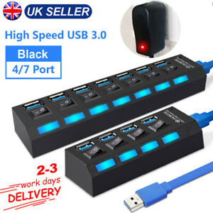 4/7 Port USB 3.0 Hub Splitter Power Adapter Multiple Expander with Switch for PC