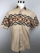 Men's Roper geometric Aztec western pearl snap rodeo beige cowboy shirt Medium M
