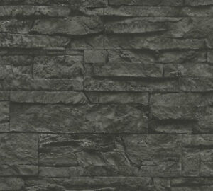 Profhome 707123-GU Stein Kacheln Tapete Steinoptik matt grau schwarz 5,33 m2