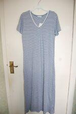 M&s Nightdress Short Sleeved Full Length Blue & White Striped UK 6 EUR 34