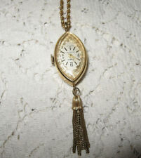 Wind Up Swiss Clear Back Parts/Repair Gold Tone Sheffield Pendant Watch Necklace