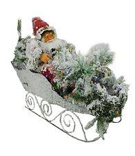 88cm Flocked Santa On Sleigh Christmas Decoration With Multi Colour LEDs (FS006)