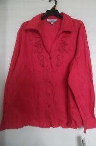 Nine West Red top blouse button down eyelets embroidery long Sleeve Sz 24W