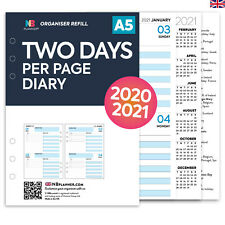 Filofax A5 COMPATIBLE A5 Two days per page diary organiser refill insert