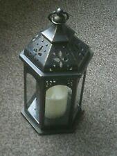 2xMoroccan Lattice Lantern realistic flickering candle effect indoor or outdoor
