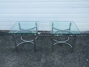 Hollywood Regency Mid Century Pair of Chrome Glass Top Side Tables 2287