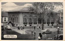 La Porte Indiana~Busy Post Office Corner~1930s Cars~B&W 1944 Postcard