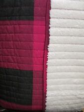 Aspen & Pine Sherpa Red Black Plaid Checked Cream Full/Queen Quilt & 2 Shams