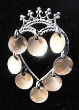 Einar MODAHL 830S Silver GILT Norway Heart & Crown SOLJE Vtg Wedding Brooch Pin