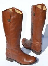 Frye Melissa Button Cognac Leather Riding Boots Size 6.5 B