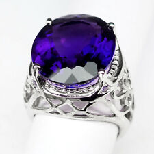 AMETHYST CHANGE PURPLE OVAL 18.10 CT. 925 STERLING SILVER RING SIZE 7.5 GIFT