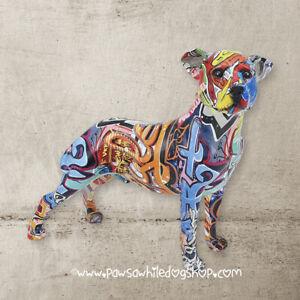 Graffiti art Staffordshire Bull Terrier Staffy large dog ornament Unusual gift