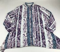 Chicos Long Sleeve Button Tunic Top Blouse Shirt  3 Or XL Purple Teal Print