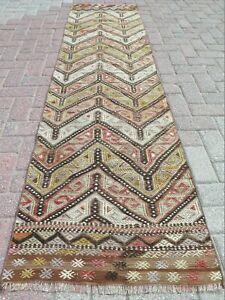 "Hallway Rug Vintage Turkish Kilim Runner Carpet Runner Corridor Long Rug 25""X94"""