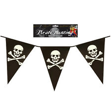 12FT Bunting Flags Party Skull & Crossbones Plastic Banner Childrens Adult Theme