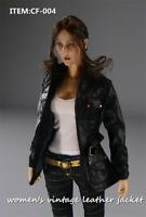 "1/6 Vintage Leather Jacket CF-004 Clothes Figure Model F 12"" Female Doll"