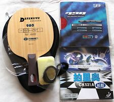 Defensive Galaxy 980 Long-Pips CK531A + Pips-in Custom-made Table Tennis Bat,USD