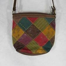 Fossil Patchwork Leather Suede Embossed Crossbody Handbag Purse