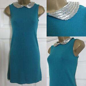 NEW Warehouse Tunic Mini Dress Party Xmas Sparkly Peter Pan Collar Teal 8-14