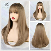 Ladies Long Straight Synthetic Wigs with Bangs Natural Blonde Hair Wig for Women