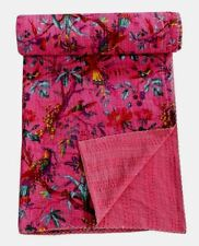 Bird Print Twin Size Kantha Quilt Pink Kantha Blanket Bed Cover Twin Kantha