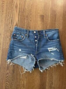 "Levis Womens 501 Button Fly Raw Hem Blue Denim Jean Shorts Size W 27"""