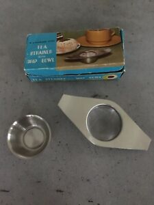 Vintage Tea Strainer with Drip Bowl. Stainless Steel. Original Box.