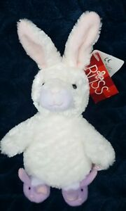 Russ Berrie  Flopsy Bunny Rabbit with Slippers Soft Toy Plush white pink purple