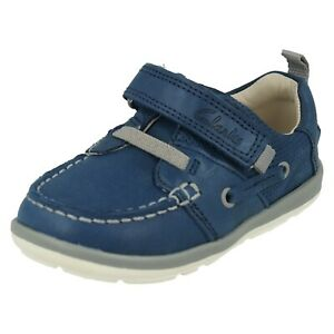 BOYS CLARKS SOFTLY BOAT INFANT HOOK & LOOP CASUAL TODDLER FIRST DECK SHOES SIZE