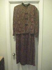 Karin Stevens Women's Size 12 Brown Floral Dress 100% Rayon Long Sleeves Vintage