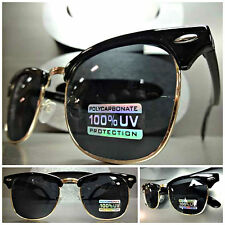 Men Women CLASSIC VINTAGE 60s RETRO Style POLARIZED SUN GLASSES Black Gold Frame