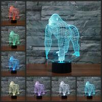 3D gorilla ape animal acrylic visual table night light 7 color led desk lamp