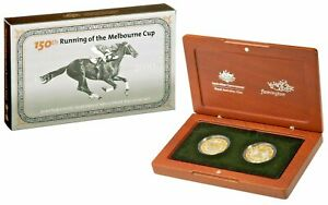 2010 150th Running of the Melbourne Cup, Gold Plated, Silver Proof, Two-Coin Set