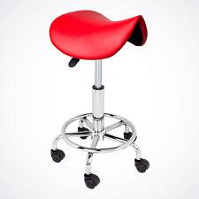 Red Salon Stool Saddle Chair Facial Tattoo Beauty Massage PU Leather Hydraulic