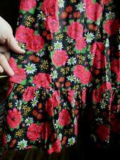 Vtg 60/70s Bijou Black Red Pink Floral Maxi Prairie Skirt Ruffle Boho Hippie Hw