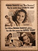 RARE Vintage 1939 LUX Toilet Soap AD Barbara Stanwyck in Union Pacific FRAME IT