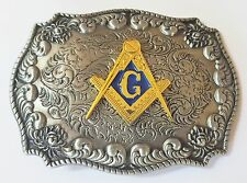 3-D MASON MASONIC LOGO RODEO COWBOY SILVER GOLD WESTERN BELT BUCKLE