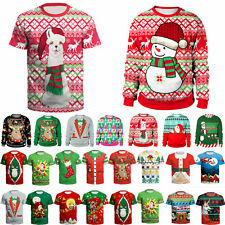 Christmas 3D Print Ugly TShirt Men Women Unisex Shirt Pullover Blouse Jumper Top