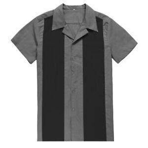 Men Shirts Retro Vintage Rockabilly Bowling Collared Hip Hop Shirts Grey&Black