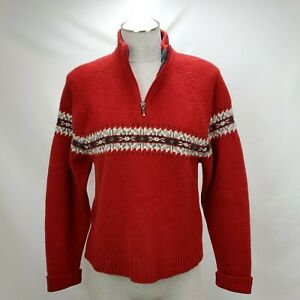 Vintage Woolrich Womens Wool Fair Isle Sweater Size Medium Red 1/4 Zip Pullover
