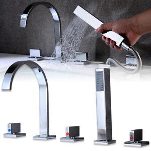 5 Loch Badewannenarmatur Wasserhahn Handbrause Wannenrand Armatur Chrom Set